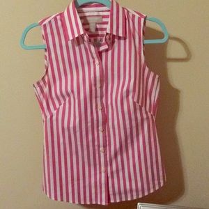 Banana Republic hot pink and white striped blouse